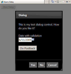 jQuery Dialog (Runtime)